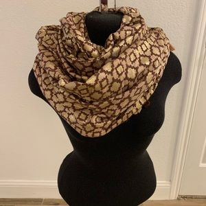 Anthropologie pink and gold reversible scarf wrap